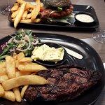 Great Porterhouse Steak Char-coaled bun burger