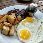 Steak and eggs with chimicurri
