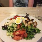greek salad (with an egg added and no dressing)