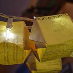 Light fixtures made out of recycled menus
