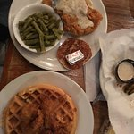 Chicken fried chicken, mashed taters, green beans; Cajun chicken 'n' waffle
