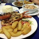 Grilled Lobster with Prawns in Garlic Sauce