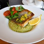 the hake served with quinoa, zucchini and lemon and butter
