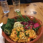 Broccoli lime rice with lentil stew and apple beetroot salad.