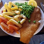 Plaice and chips with vegetables. Boom.