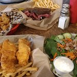 Calamari, Reuben, Fish & Chips and Garden Salad