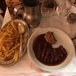 Deer with sweet potatoes purée and cranberry jam! And delicious fries!