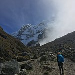 My daughter approaching Salkantay Pass.