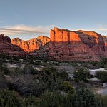 Sunset on Bell Rock and Courthouse Butte, from Javelina Room