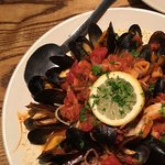 Seafood fra diavolo as served.