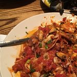 Seafood fra diavolo with shells removed.