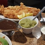 Hot seafood pot, scamp and chips, haddock and chips. Yum!