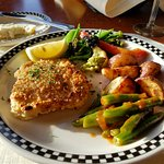 Nut crusted halibut entree