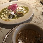 Soup and enchiladas