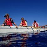Outrigger at sea