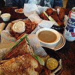 Duck Sandwich, Fries with Gravy and Wings