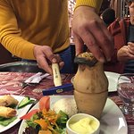 Pottery Kebab - a local specialty. It is cooked in the clay pot and opened at your table. The be