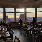 """Dining room with """"the view"""" of the valley. Great view, okay food."""