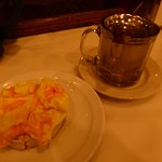 Egg and Cheese Crumpet with Tea