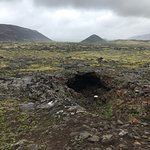 Lava holes on hike to the volcano