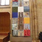 Piece of modern art inside the church.