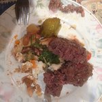 Beef burgers (unable to eat them - tightly formed mess of uneatable stuff ?)