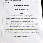 Comprehensive Sunday lunch menu