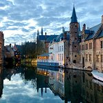 Bruges canals at sunset