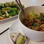 Beef Khao Soi; stir fry vegetables
