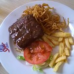 Pensioner's Rump steak and chips