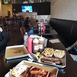 Cole Slaw, Ribs, Brisket, Macaroni and Cheese (delicious) and fries.