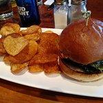 Portobello burger with chips