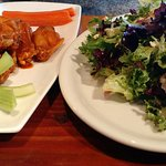 Spicy wings and house salad