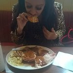 misses enjoying her carvery