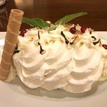 Swiss meringue, bathed in Chantilly