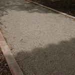 Loose gravel on walkways