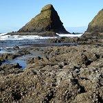 low tide on beach below lighthouse