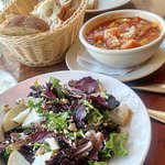 Very good minestrone soup and salad----lots of bread!
