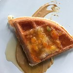 Buttermilk Waffle with Pistachio Butter and Gooseberry Jam. Small Plate Sunday Brunch