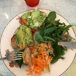 Bruschetta with home made red pepper hummus, avocado, apple and carrot slaw and salad leaves. Fa