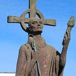 Statue of St Aidan outsidet he abbey