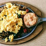 Skillet with Scrambled Eggs & Bisquits