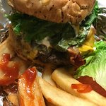 Fried Mushrooms French dip Bacon burger Fries