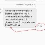 SMS beffa di cancellazione (notare ora di arrivo)