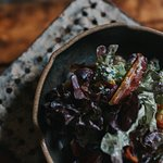 Fig, prosciutto and blue cheese salad.