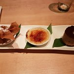 The desserts - Flufflernutter dumplings, Yizu creme brulee and bitter chocolate mousse with sea