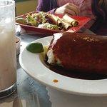 a HUGE chorizo burrito and delicious horchata