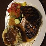 Pork Chops, mashed potatoes, steamed veggies