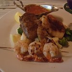 Surf and Turf with Red Snapper and 3 shrimps