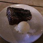 Chocolate fudge cake with vanilla ice-cream
